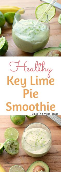 Healthy Key Lime Pie Smoothie ~ start your morning right with the healthy smoothie made with avocado, lime juice, greek yogurt, and banana