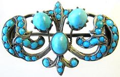 PERSIAN TURQUOISE CHATELAINE BROOCH STERLING SILVER