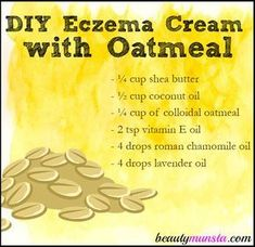 Dry itchy and inflamed eczema patches can hurt pretty bad. That's why you need something soothing like oatmeal to calm the irritated skin. Enter this DIY Eczema Cream with Oatmeal! It contains colloidal oatmeal, which is oatmeal that's grinded to fine pow Diy Savon, Belleza Diy, Chamomile Oil, Eczema Remedies, Snoring Remedies, Allergy Remedies, Natural Remedies, Aromatherapy, Health And Wellness
