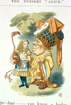 'The Duchess and Alice' Illustration to the ninth chapter of Alice in Wonderland by Sir John Tenniel, 1865 coloured and enlarged in the Nursery Alice edition of 1890 Alice In Wonderland Flamingo, Alice In Wonderland Figurines, Alice In Wonderland Characters, John Tenniel, Lewis Carroll, Flamingo Fabric, Alice Liddell, Pin Up, Alice Madness