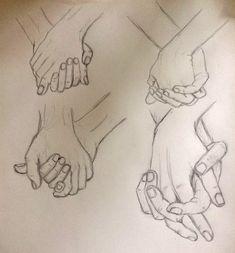 Practice sketch holding hands - pinkishcoconut drawings в 20 Cute Couple Drawings, Cool Art Drawings, Pencil Art Drawings, Art Drawings Sketches, Holding Hands Sketch, Drawing Techniques, Drawing Tips, Art Du Croquis, Desenhos Love