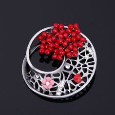 JUJIE Red Flower Rhinestone Brooches Pins For Women 2017 Vintage Hollow Geometric Brooches Fashion Luxury Pins Brooch