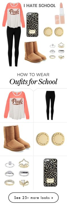 """Basically me everyday for school"" by anna852281forever on Polyvore featuring mode, Max Studio, UGG Australia, MICHAEL Michael Kors, Topshop, Marc by Marc Jacobs et Rimmel"