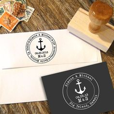 Nautical Anchor Cruise Ship Address Stamp or Save the Date stamp with date and initials