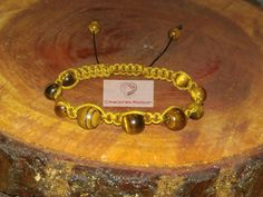 MENS ADJUSTABLE BRACELET Gold Cord and Tiger Eye Beads by RodconPR