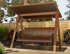 Szukasz inspirujących pomysłów na huśtawki ogrodowe? Sprawdź moją propozycję. Porch Swing, Backyard Landscaping, Landscape Design, Gazebo, Outdoor Structures, Interior Design, Bedroom Ideas, Projects, Bedroom Cabinets