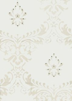 Chelsea (W1421/04/001) - Kandola Wallpapers - An all-over trellis effect with a smaller central motif. Shown in pearl white on white with hand-placed silver Swarovski crystals. Please ask for sample for colour match.