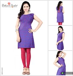Stylish Blue Cotton Kurti: It is designed with attractive dot print work and bow work on the Back side. Ideal to wear in college, office and home, Buy Only at Rs.500 from EthnicBasket.com!  #EthnicBasket #CottonKurtis #OfficeKurtis
