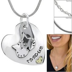 I Love My Rescue Cat Sterling Necklace at The Animal Rescue Site