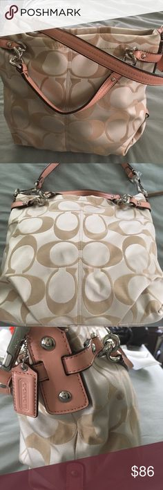 NWOT Coach signature sateen Brooke tote NWOT Coach signature sateen Brooke tote. Bag measures 13 inches wide by 9 inches tall. Classic! Coach Bags Shoulder Bags