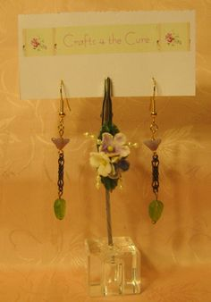 Gold tone, Filigree, Opaque Purple Flower and Apple Green Leaf Bead Earrings ♥etsy♥ $5.00