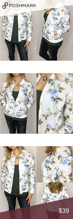 """Absolutely Gorgeous Blue Rose Bomber Jacket SML This bomber jacket adorned with baby blue roses with olive leaves is absolutely gorgeous. Satin-like lining with chiffon overlay. Silver hardware & off-white trim. Wear zipped or unzipped...so versatile. Two front pockets. 100% Polyester   Small Bust 36"""" Length 22"""" Medium Bust 38"""" Length 22.5"""" Large Bust 40"""" Length 23"""" Jackets & Coats"""