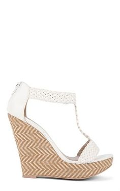 Deb Shops Platform #Wedge Heel with Zig Zag Canvas Heel and T Strap