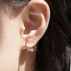Funny Cat Opal Rhinestone Earrings Studs