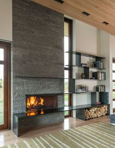 14 Inspirational Ideas For Storing Firewood In Your Home · Contemporary  FireplacesStone ...