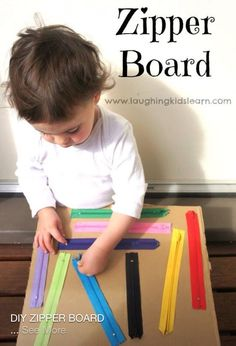 Talk about fine motor skills, look how great this is. DIY zipper board for kids. Great for fine motor and sensory development. Montessori Toddler, Montessori Activities, Toddler Play, Toddler Learning, Infant Activities, Toddler Fine Motor Activities, Educational Activities, Baby Play, Toddler Activity Board Motor Skills