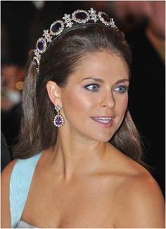 Princess Madeleine of Sweden wore the Queen Josephine Amethyst Tiara to the Noble Prize Awards Ceremony in 2012