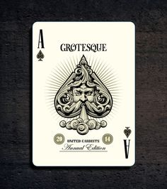 """""""Grotesque"""" deck of playing cards - Cool Playing Cards, Custom Playing Cards, Ace Of Spades Tattoo, Spade Tattoo, Fortune Telling Cards, Card Tattoo, Cartomancy, Desenho Tattoo, Deck Of Cards"""