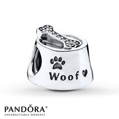PANDORA Charm Woof Dog Bowl Sterling Silver