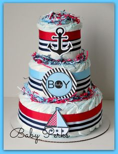 Nautical Diaper Cake, Nautical Baby Shower , Sailboat Theme, Baby Shower Decorations, Nautical Mini Diaper cakes on Etsy, $49.99