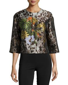 Amity+Floral-Embroidered+Jacket,+Espresso+Multi+by+Lafayette+148+New+York+at+Neiman+Marcus.