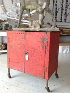 Industrial Red Metal Cabinet, $650 http://splurge316.shopinterest.co/