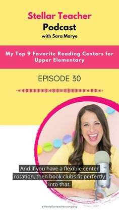 In this episode of the Stellar Teacher Podcast, I'm giving you my favorite reading centers for upper elementary! Find out my favorite centers I use to teach: Independent reading, Writing about reading, Vocabulary center, Word work, Skill or strategy focused center, Genre center, Fluency center, Book clubs and Research center! Teaching 5th Grade, 4th Grade Reading, Help Teaching, Teaching Writing, Guided Reading, Reading Centers, Reading Workshop, Reading Strategies, Reading Comprehension
