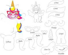 Moldes de unicórnio de feltro. Unicórnio , também conhecido como licórnio ou licorne, é um animal mitológico que tem a forma de um cav...