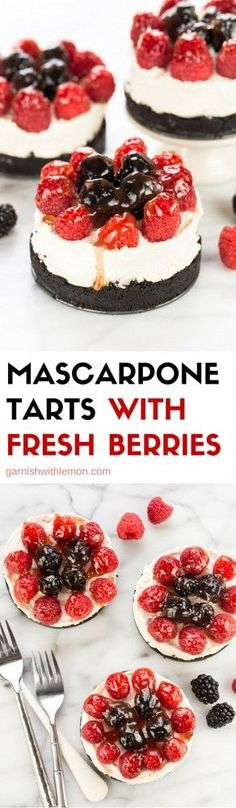 Mascarpone Tarts with Fresh Berries have a chocolate cookie crust and are a stunning dessert. They are perfect for entertaining, no one needs to know how easy they are! ~ http://www.garnishwithlemon.com