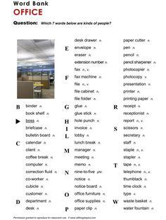 Office, English, Learning English, Vocabulary, ESL, English Phrases, http://www.allthingstopics.com/office.html