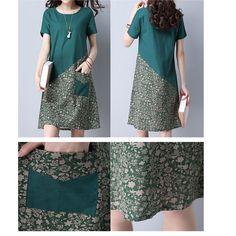 Floral Patchwork Pocket Short Sleeve O Neck Women Dresses Shopping Online - NewChic Mobile.