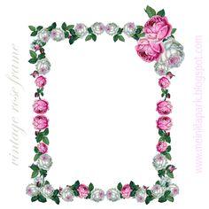 Free digital vintage rose frame png - Vintage Rosenrahmen - freebie | MeinLilaPark – DIY printables and downloads