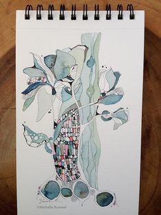 Presence, Felt ~ Original ink and watercolor by Shell Rummel ~  ©Michelle Rummel