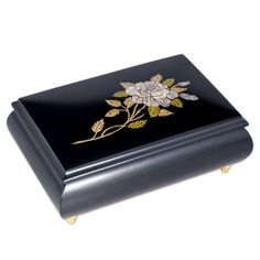 Pearl Rose Italian Hand Crafted Inlaid Black Wood Musical Jewelry Box  Plays Fur Elise * Click image to review more details.