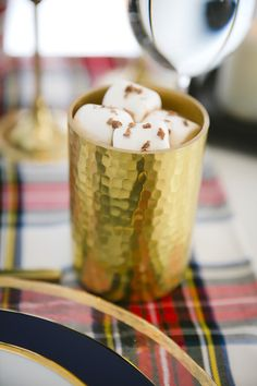 """Royal gold hot cocoa cup from a """"Let it Snow"""" Christmas Party on Kara's Party Ideas   KarasPartyIdeas.com (14)"""