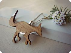 Silver fox necklace  fox pendant  laser cut wooden by onehappyleaf, $30.00