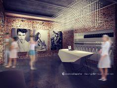Salon fryzjerski / Hair Salon #hairdresser #arthairstyle #waitingroom #reception #brick #concretefloor #hairdresserdesign#interiordesign #architecture #visualization #oldbuildings #interiorclimate #moderndesign #3dstudiomax #hairfashion #modernstyle #3D sculpting — w: Lubelskie, Poland