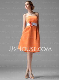 Vestidos de madrinha - Vestidos princesa/ Formato A Coração Na altura do joelho cetim Vestido de madrinha com faixa fecho de correr