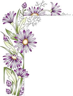View album on Yandex. Page Borders Design, Border Design, Flower Frame, Flower Art, Flower Border Clipart, Boarders And Frames, Art Corner, Decorative Borders, Flower Doodles
