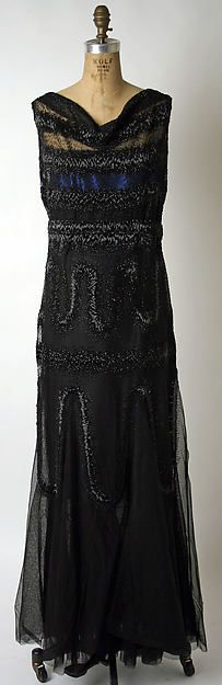 Evening dress, Jean Patou, 1931, Silk, with glass beads