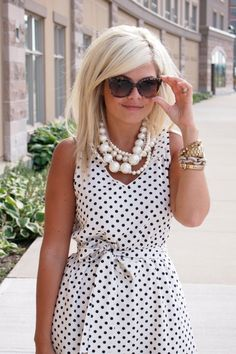 White & Black polka dot dress and big chunky pearls #perfect