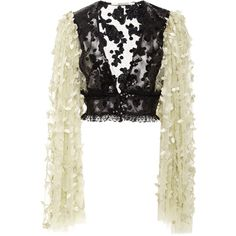 Rodarte     Black and Pale Yellow Floral Deep V-Neck Blouse (42.133.690 IDR) ❤ liked on Polyvore featuring tops, blouses, black, yellow crop top, flower print blouse, yellow lace top, lace top and floral print blouse