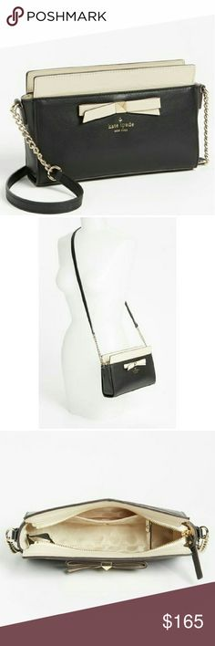 """NWT Kate Spade Hancock Park Angelica Lovely little crossbody bag from kate spade new york. Versatile black and latte (doe) color scheme and timeless style. Great size that holds everything! 9.5"""" x 6.5"""" x 3. kate spade Bags Crossbody Bags"""
