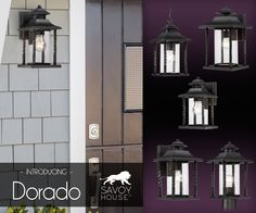 New from Savoy House, Dorado outdoor lights have dimensions of style thanks to the central cylinders of clear seeded glass surrounded by twisted columns finished in black.