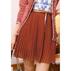 $5.17 Retro Style Preppy Solid Color High-Waisted Pleated Skirt For Women