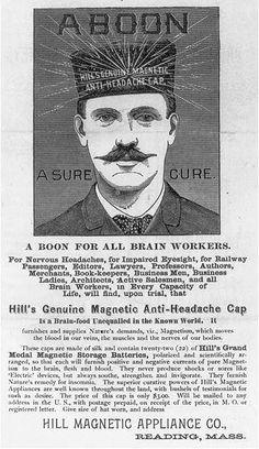 Hill's genuine magnetic anti-headache cap--A sure cure