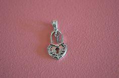 925 Sterling Silver Lock, Key & Heart Pendant - Lock Heart Shape Pendant