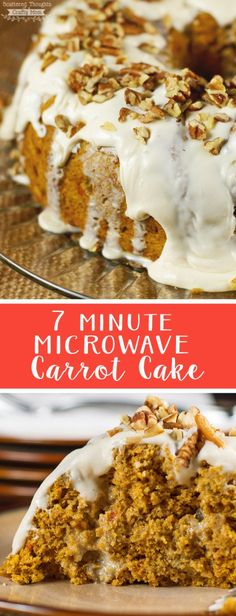 Need dessert in a hurry? This deliciously decadent 7 Minute Microwave Carrot Cake recipe is a must make! Mini Desserts, Homemade Desserts, Easy Desserts, Delicious Desserts, Microwave Deserts, Microwave Cake, Microwave Recipes, Oreo Dessert, Quick Dessert