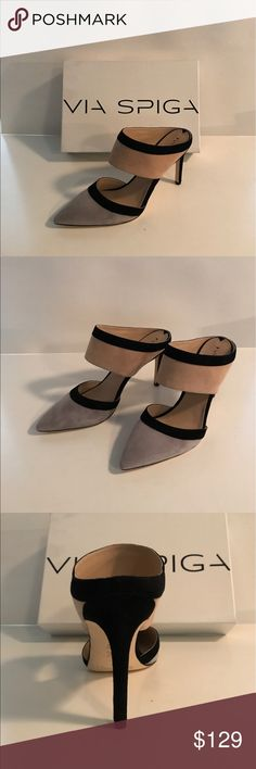 Tri- Color Mule Sexy from every angle in neutral hues.  You'll enjoy these heels from desk to dinner and beyond.  Excellent condition.  NWT.  4 inch heel. 100% genuine leather upper and sole.  Gray, nude and black. Via Spiga Shoes Heels