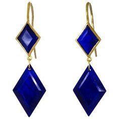 Marie-Hélène de Taillac Double Drop Lapis Lazuli Earrings ($1,212) ❤ liked on Polyvore featuring jewelry, earrings, earrings jewelry, lapis lazuli earrings, lapis lazuli jewelry and double drop earrings